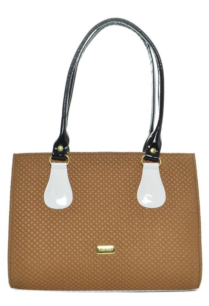 Elegantní kabelka na rameno S61 kakaovo-bílá