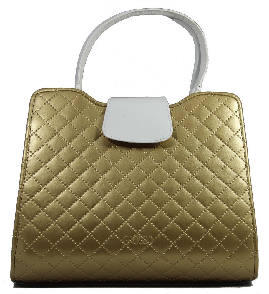 Luxusní zlatá prošívaná kabelka do ruky S130