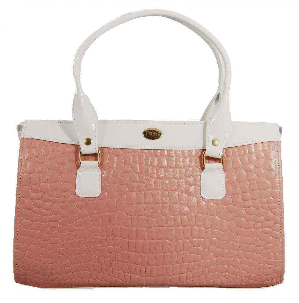 Jemná růžovo bílá kroko kabelka na rameno S305
