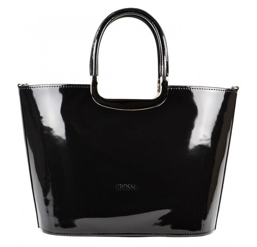 Luxusní kabelka Grosso S7 černá lakovaná