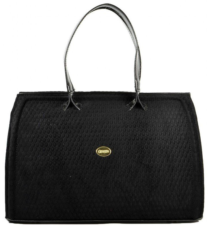 Černá semišová kabelka do ruky S464
