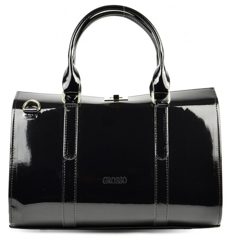 Černá lakovaná kabelka do ruky S463