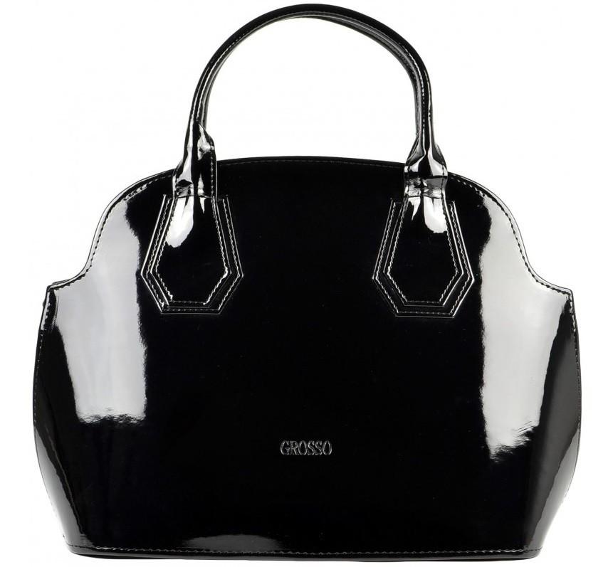 Černá hladká kabelka do ruky S204