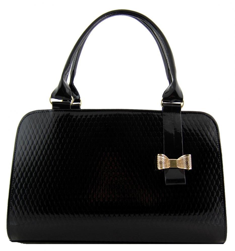 Decentní černá kapková kabelka do ruky s mašlí S410