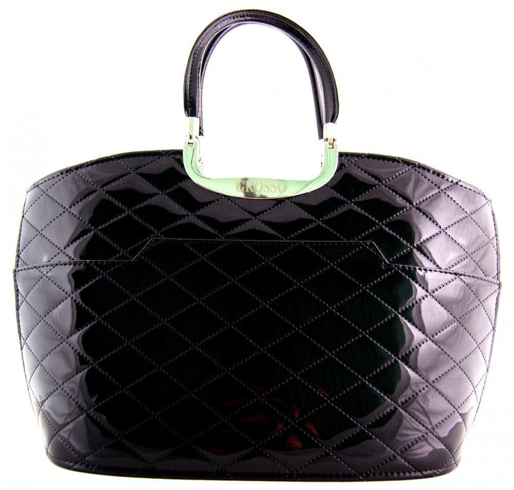 Elegantní černá prošívaná kabelka S5
