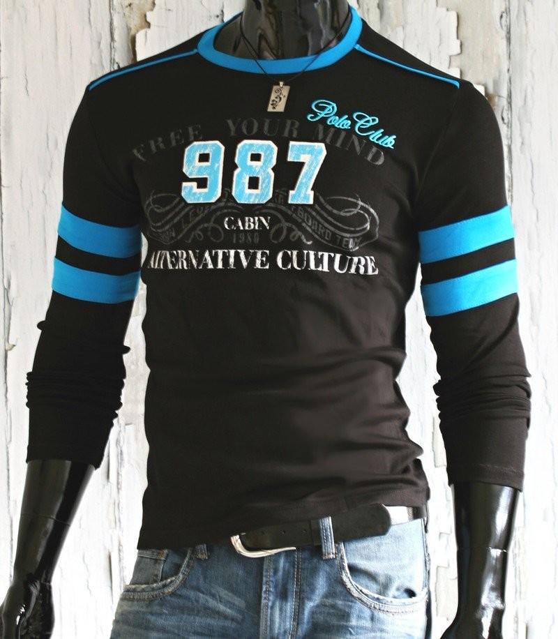Pánská trička s dlouhým rukávem p-tr25bl