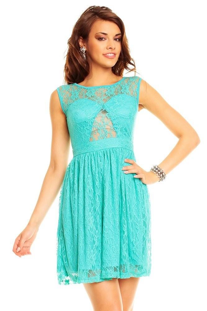 Společenské dámské šaty tyrkys hs-sa399ze