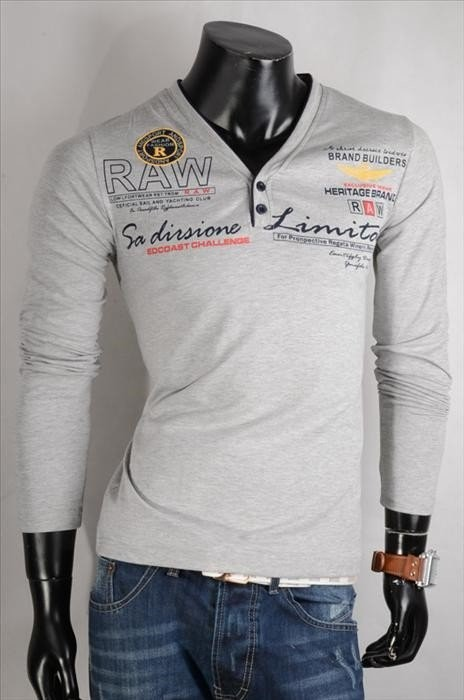 Pánské šedé tričko s dlouhým rukávem p-tr27gr