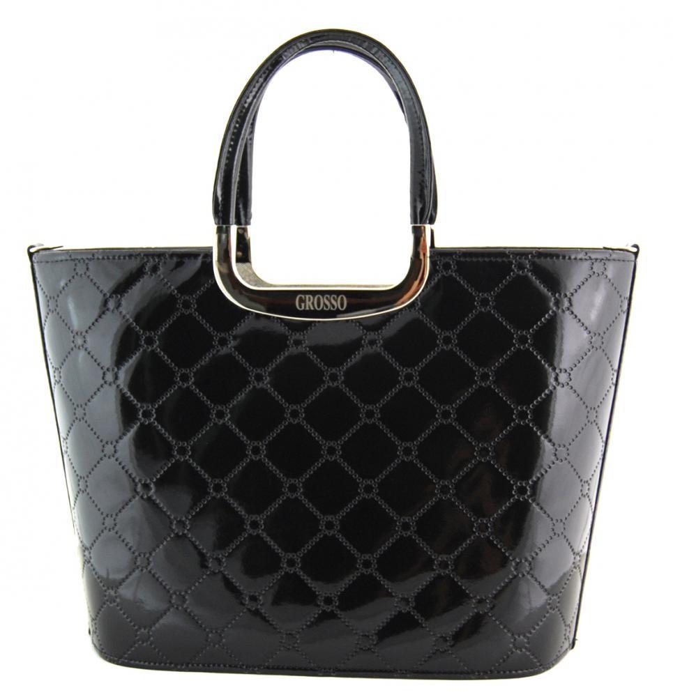 Luxusní kabelka Grosso S7 černá štěpovaná lakovaná