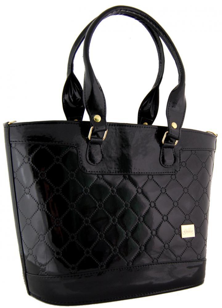 Černá prošívaná kabelka na rameno S312