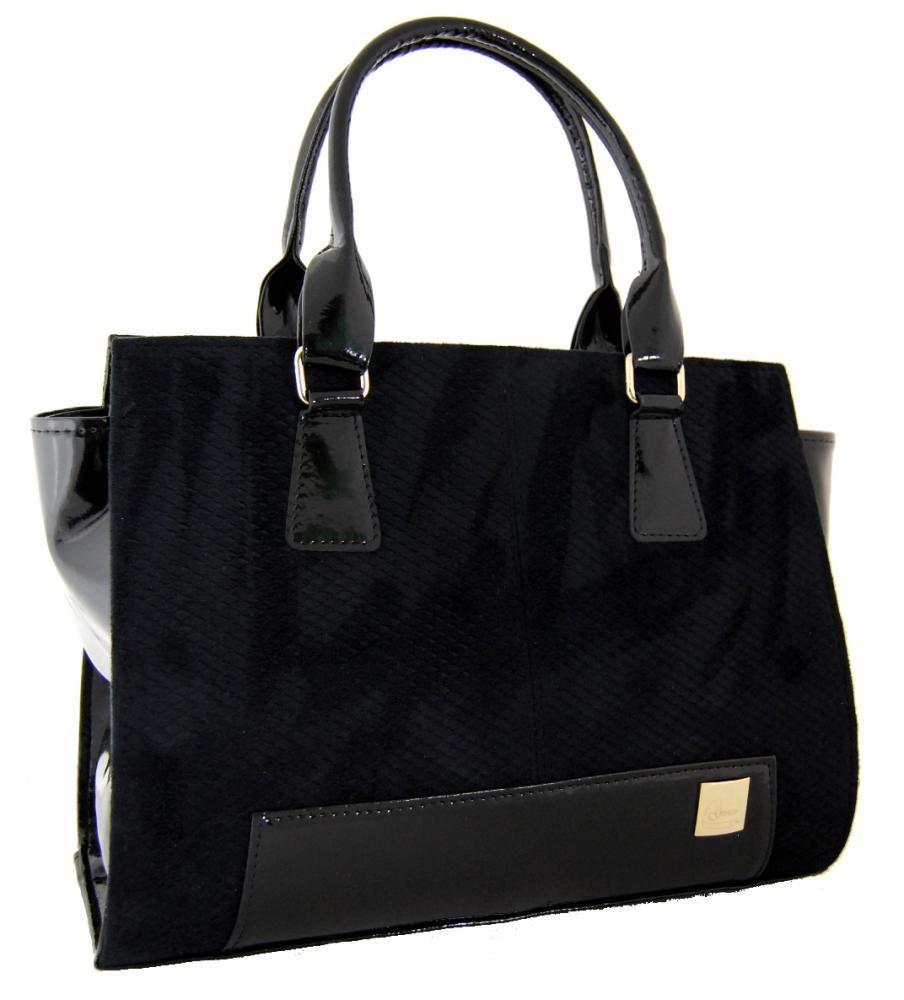 Semišová černá kabelka S488