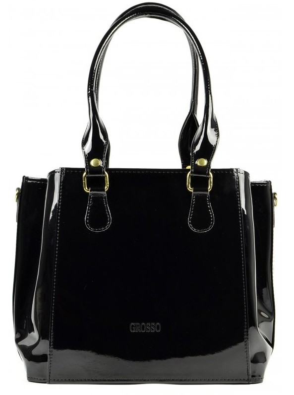 Černá lakovaná kabelka na rameno S447