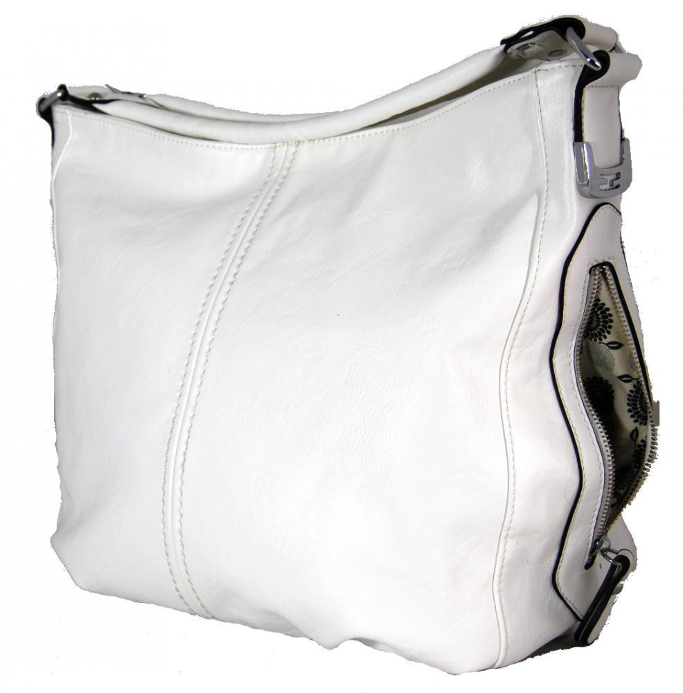 Větší kabelka na rameno s bočními kapsami D1068 bílá