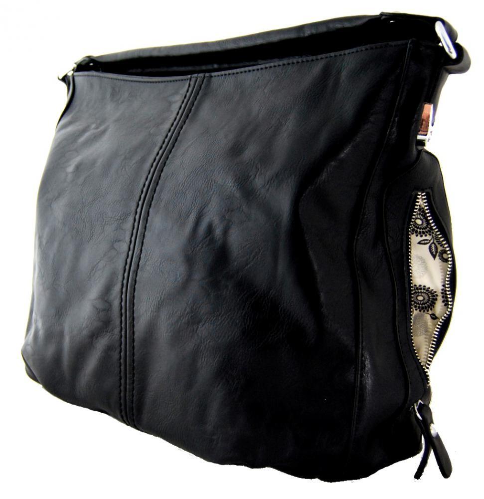 Větší kabelka na rameno s bočními kapsami D1068 černá