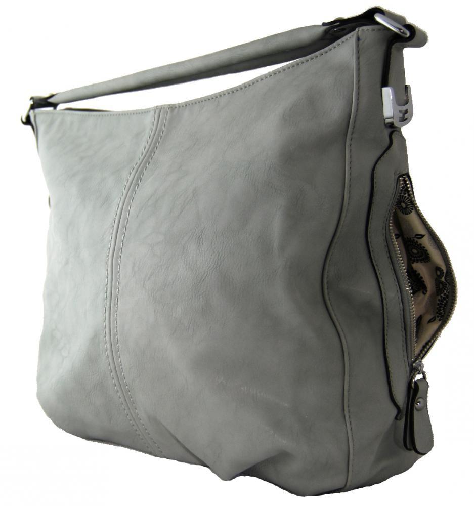 Větší kabelka na rameno s bočními kapsami D1068 šedá