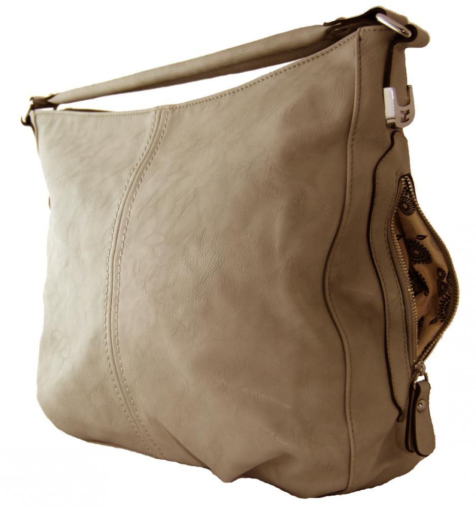 Větší kabelka na rameno s bočními kapsami D1068 přírodní hnědá