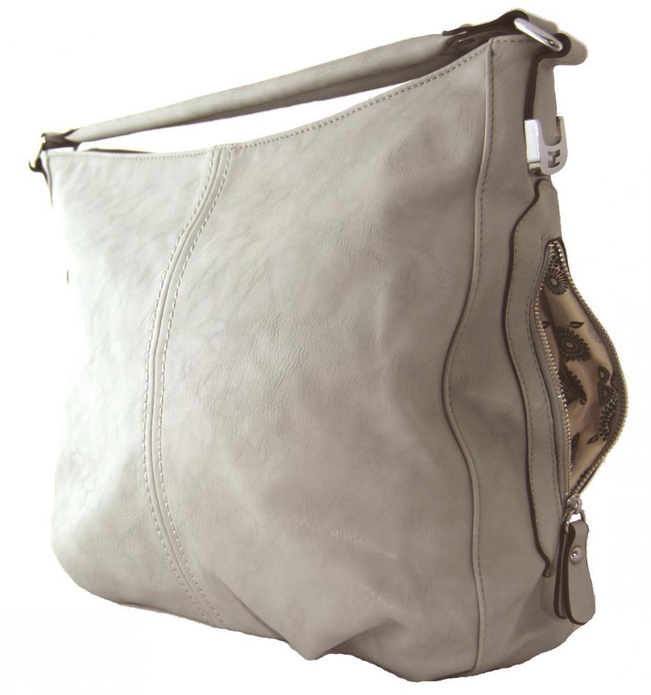 Větší kabelka na rameno s bočními kapsami D1068 šedo-béžová