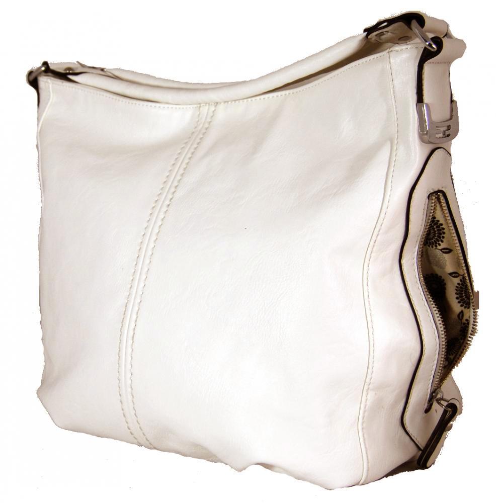 Větší kabelka na rameno s bočními kapsami D1068 béžová