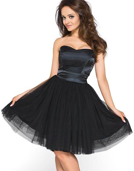 Černé koktejlové šaty KM114