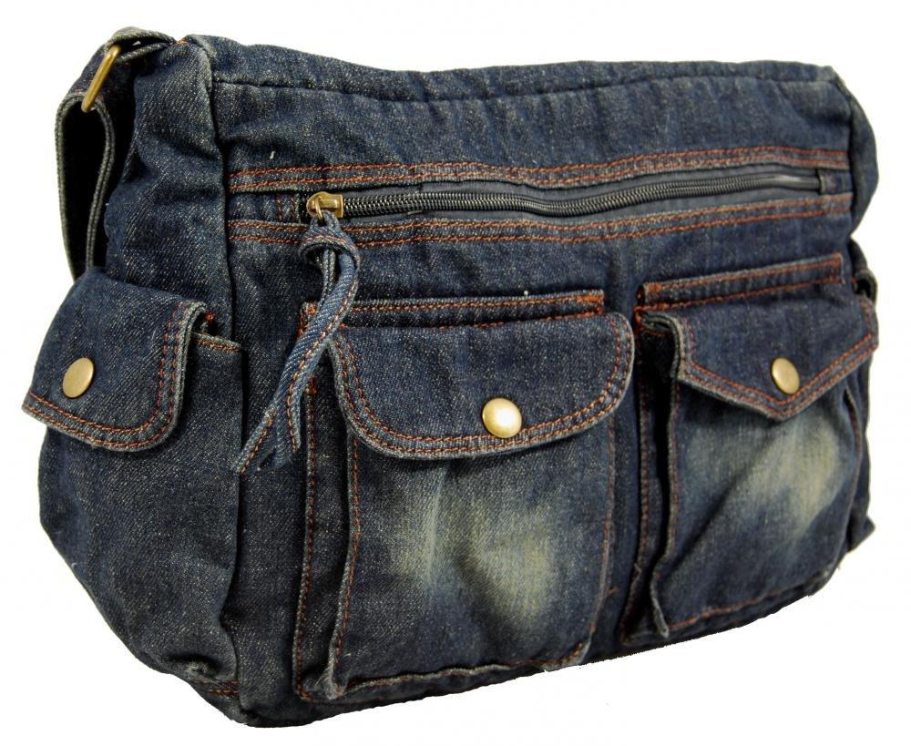 Látková crossbody riflová taška na rameno