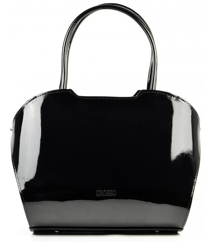 Černá hladká lakovaná kabelka do ruky S467
