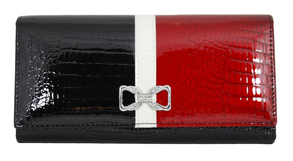 Dámská kožená peněženka v krabičce Cossroll 04-5242-2 černá-červená