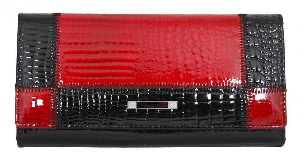 Dámská kožená peněženka Cossroll 05-5242 černo-červená