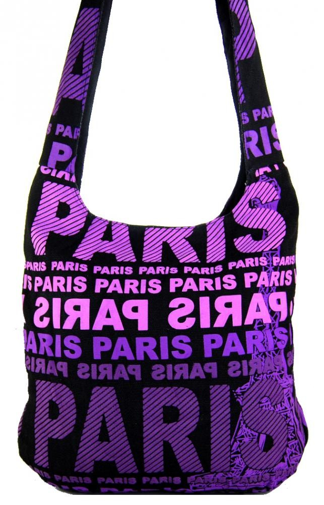 Moderní crossbody taška PARIS s fialovým potiskem