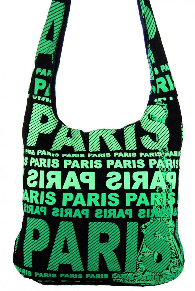 Moderní crossbody taška PARIS se zeleným  potiskem