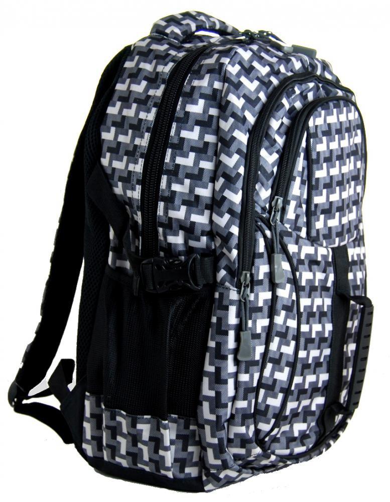 Károvaný batoh do školy L615-A šedo-černý