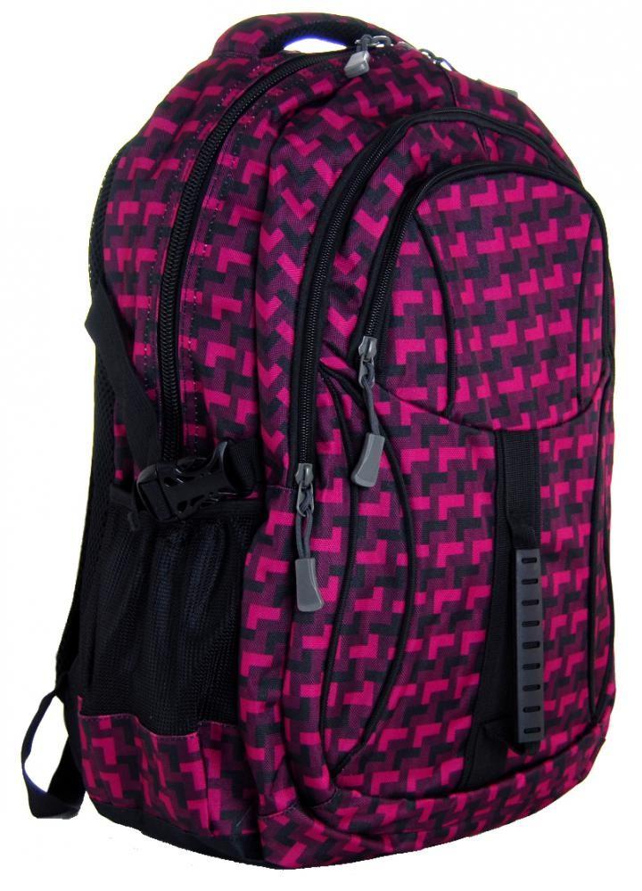 Károvaný batoh do školy L615-A vínovo-černý