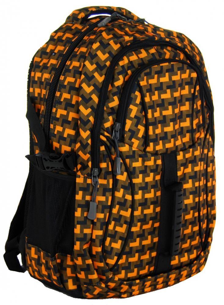 Károvaný batoh do školy L615-A oranžovo-černý