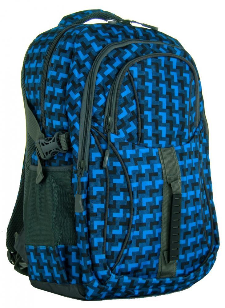 Károvaný batoh do školy L615-A modro-šedý