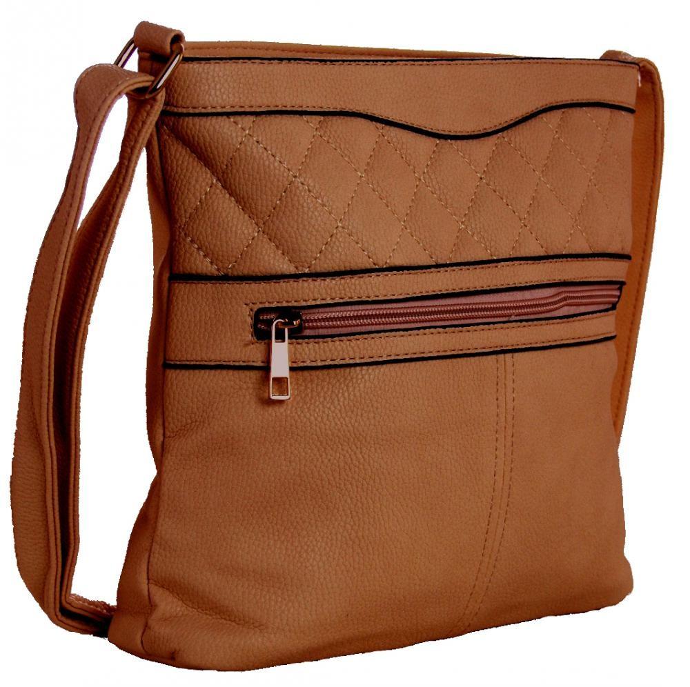 Crossbody kabelka s prošíváním H0359 hnědá