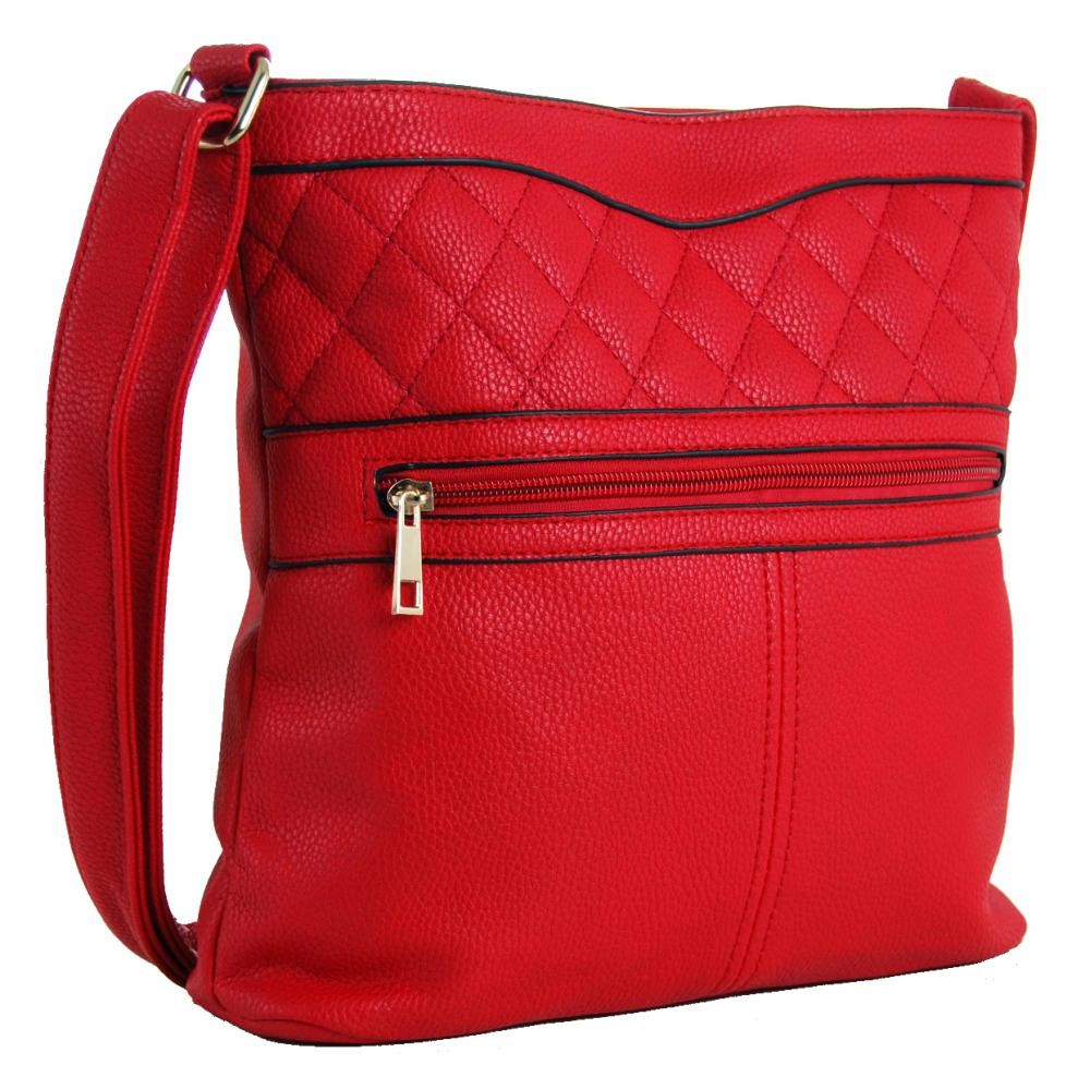 Crossbody kabelka s prošíváním H0359 červená