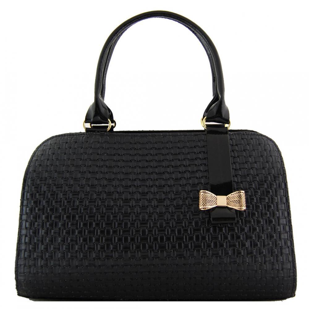 Proplétaná černá kabelka do ruky s mašlí S410
