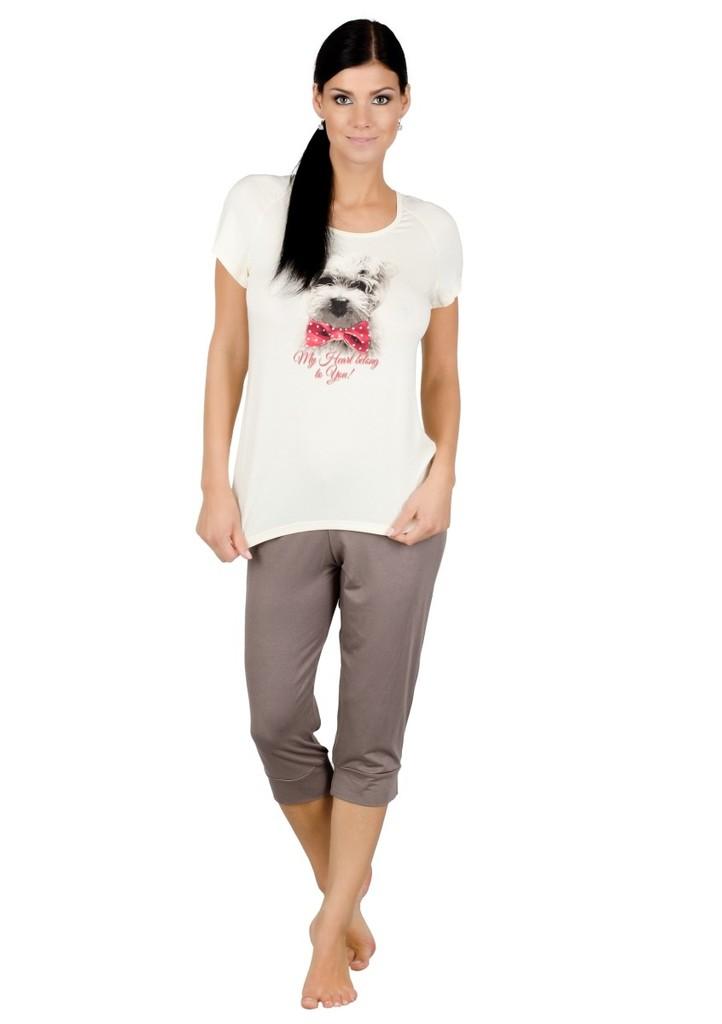 Dámské pyžamo s obrázkem psa a capri kalhotami