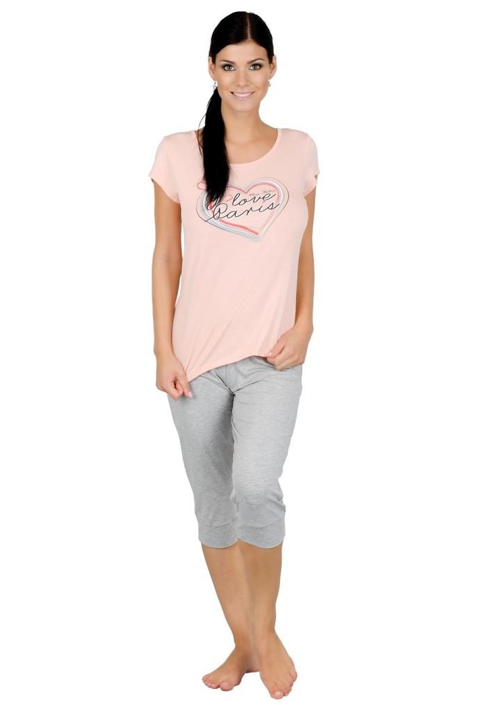 Dámské pyžamo s nápisem I love Paris a capri kalhotami