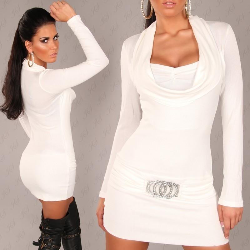 Bílé úpletové mini šaty in-sat165wh
