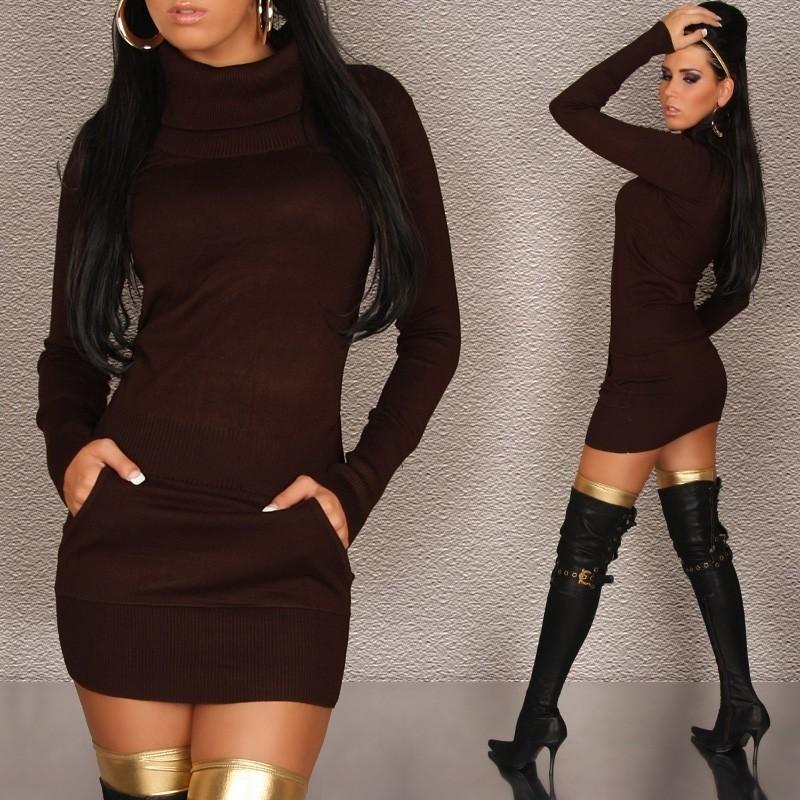 Pletené hnědé šaty in-sat100th
