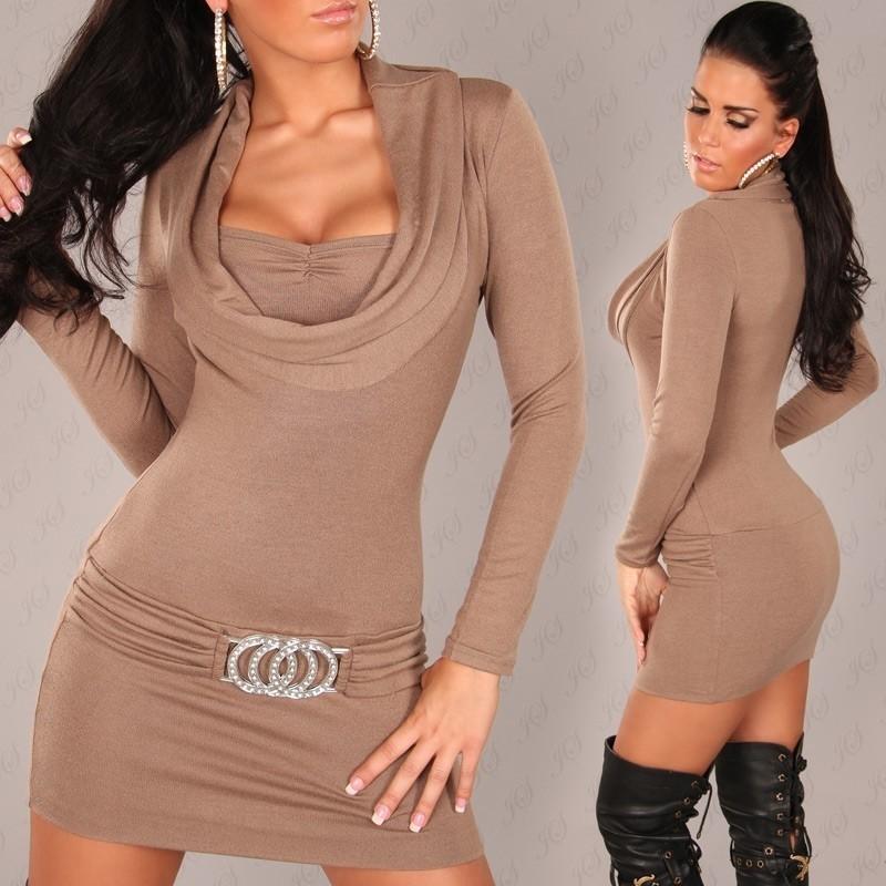 Úpletové mini šaty - capuccino in-sat165ca