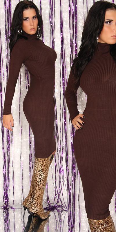 Úpletové šaty hnědé in-sat129th