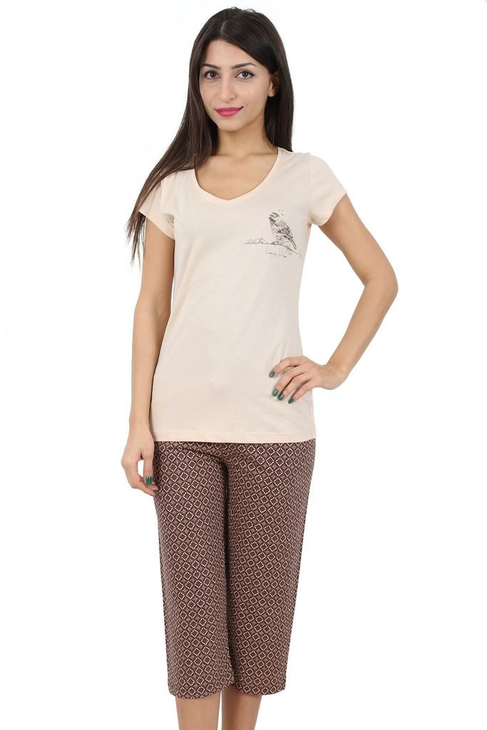 Bavlněné dámské pyžamo Beige bird