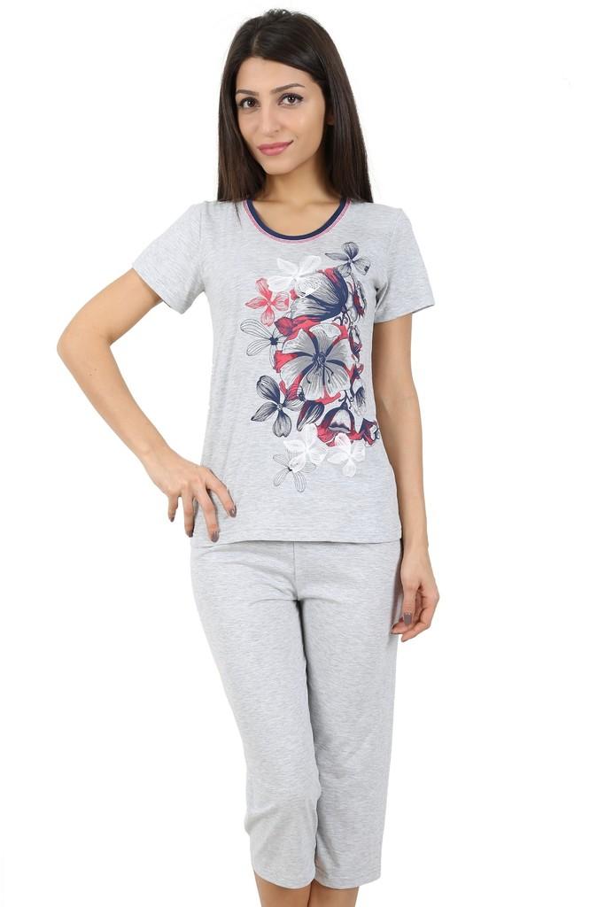 Bavlněné dámské pyžamo Flowers