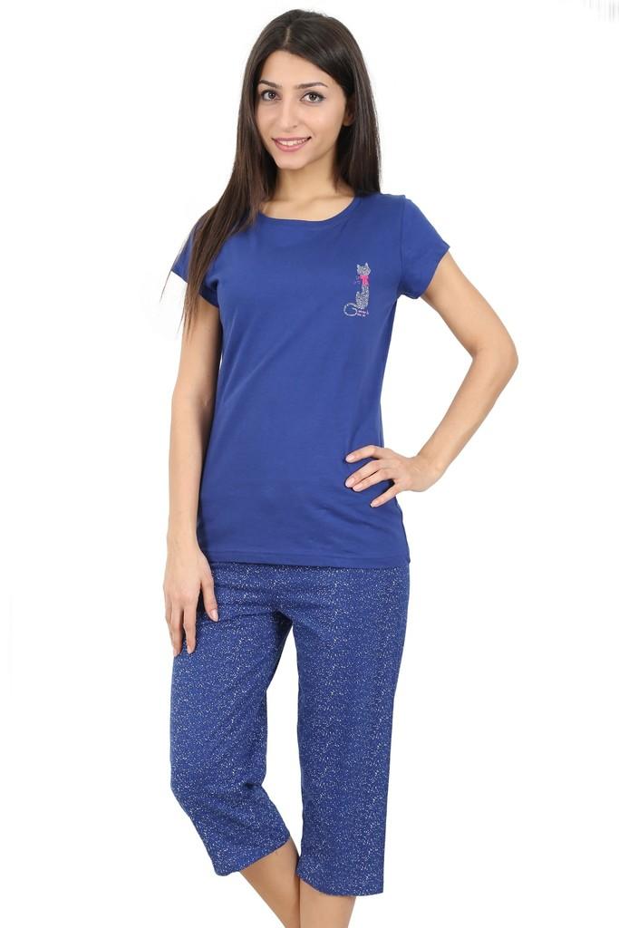 Bavlněné dámské pyžamo Blue cat