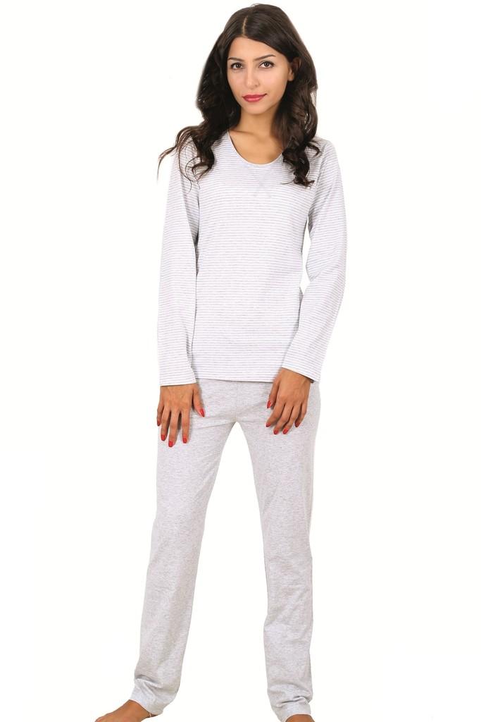 Bavlněné dámské pyžamo Grey stripes