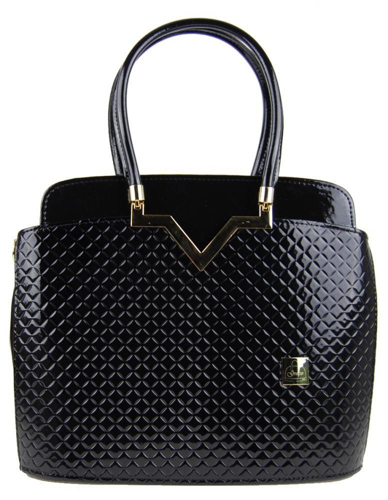 Černá lakovaná kabelka s kosočtverci S482