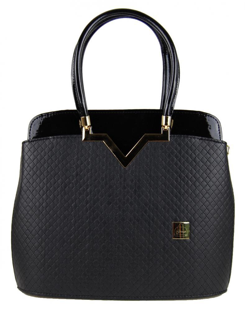 Luxusní černá kabelka S482 mat/lesk