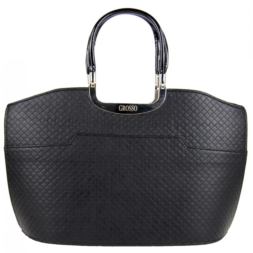 Elegantní černá matná prošívaná kabelka S5