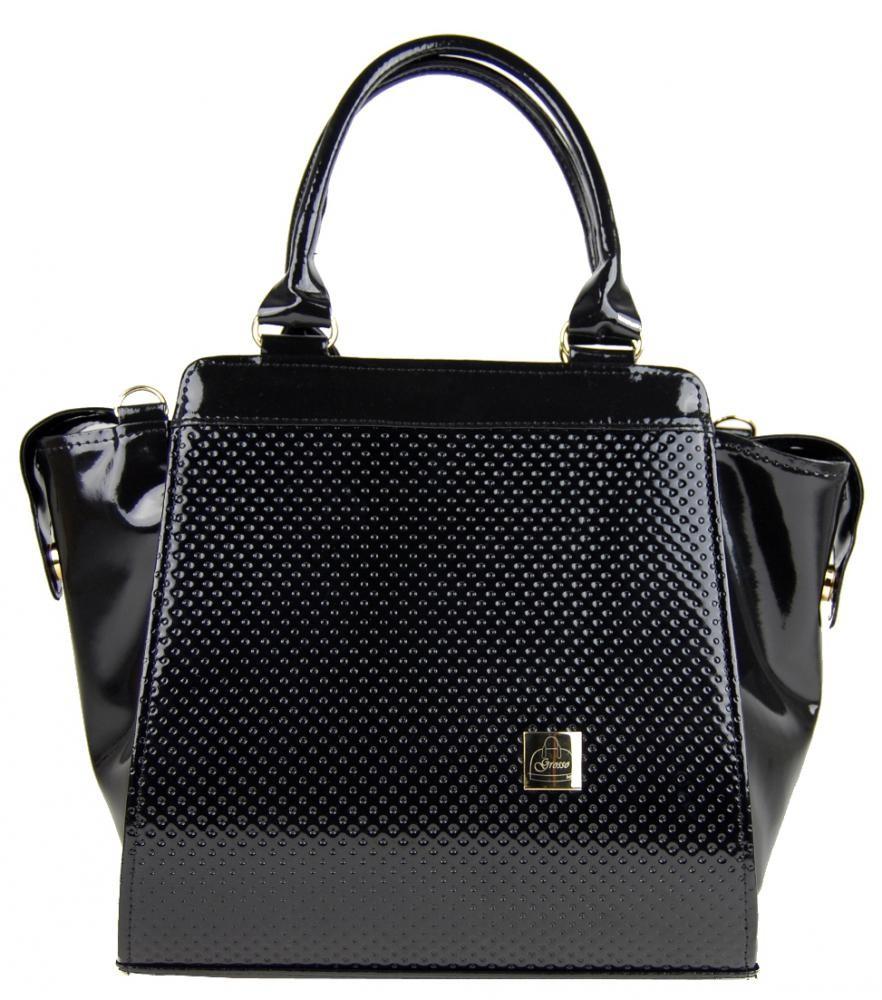 Elegantní černá tečkovaná kabelka S489